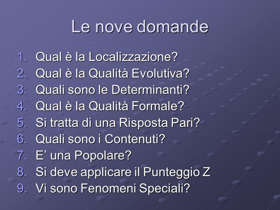 Le nove domande Qual è la Localizzazione Qual è la Qualità Evolutiva