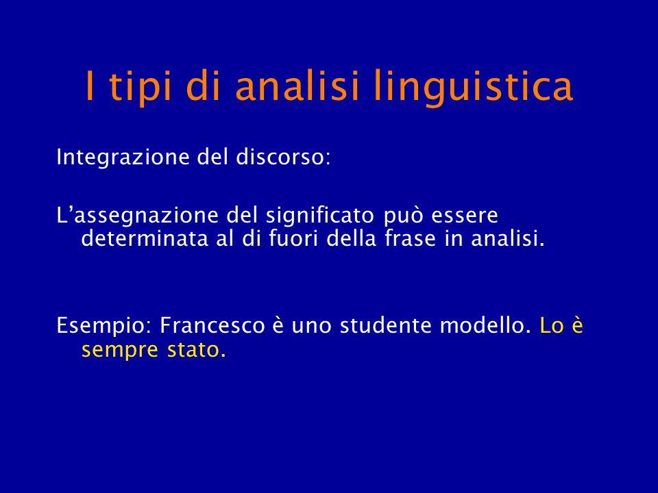 I tipi di analisi linguistica