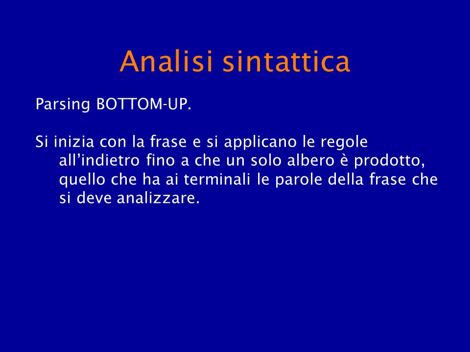Analisi sintattica Parsing BOTTOM-UP.
