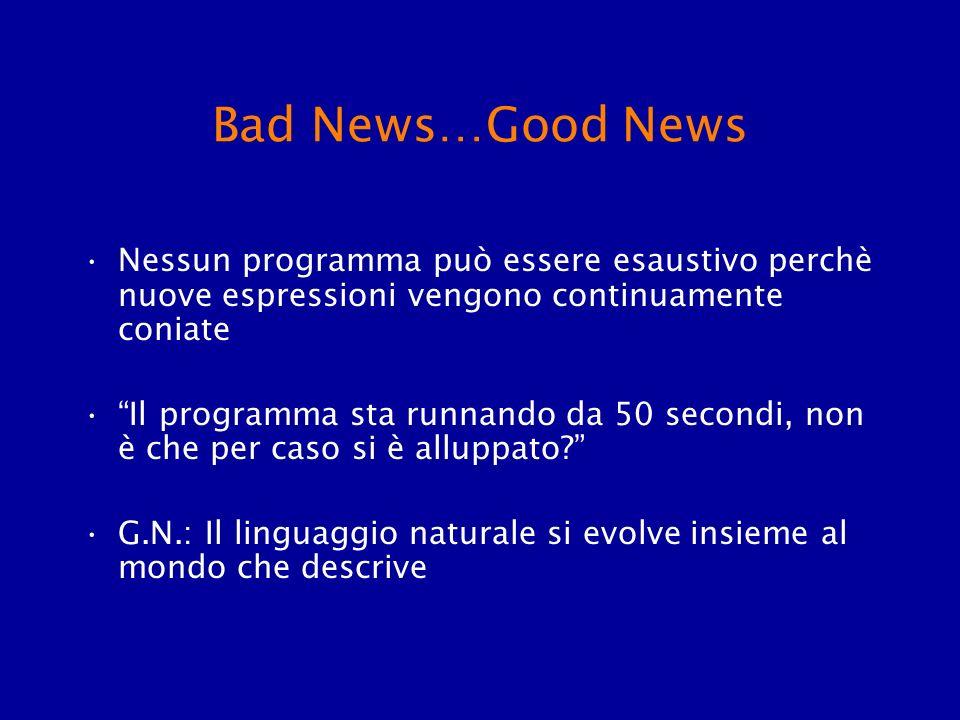 Bad News…Good News Nessun programma può essere esaustivo perchè nuove espressioni vengono continuamente coniate.