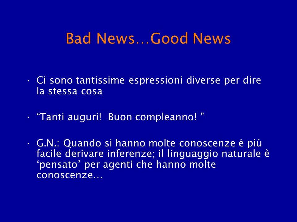 Bad News…Good News Ci sono tantissime espressioni diverse per dire la stessa cosa. Tanti auguri! Buon compleanno!