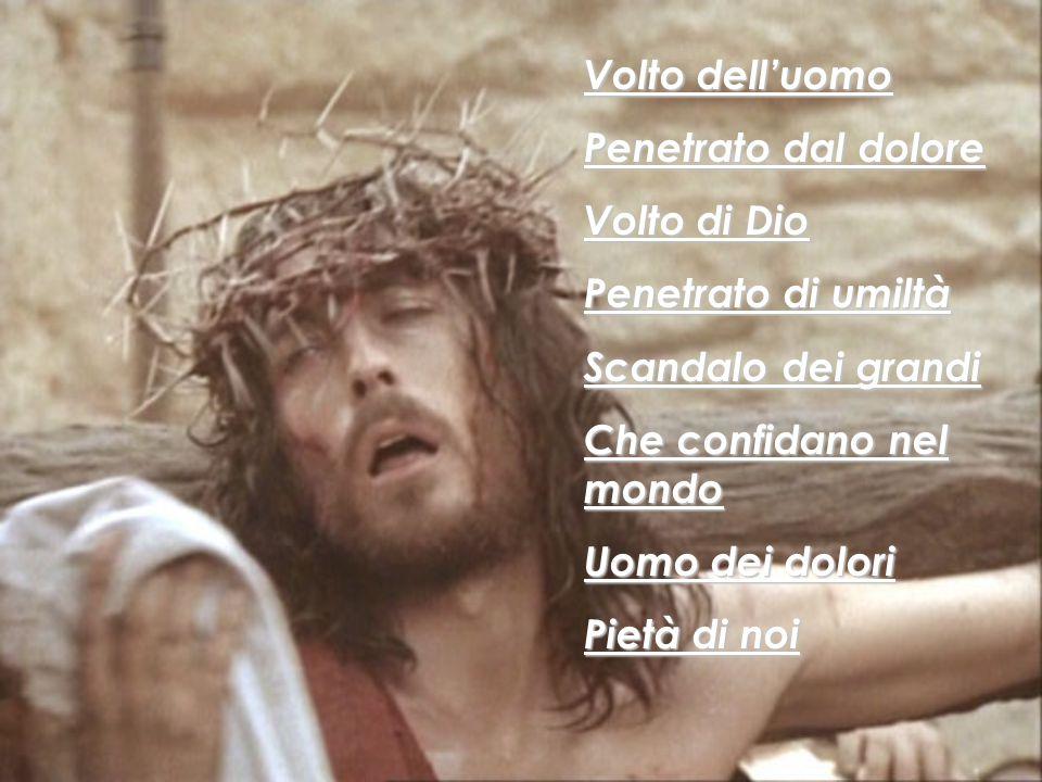 Volto dell'uomo Penetrato dal dolore. Volto di Dio. Penetrato di umiltà. Scandalo dei grandi. Che confidano nel mondo.