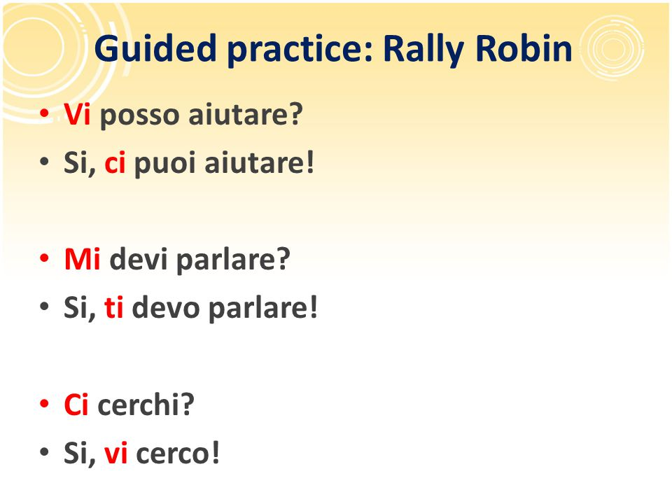 Guided practice: Rally Robin