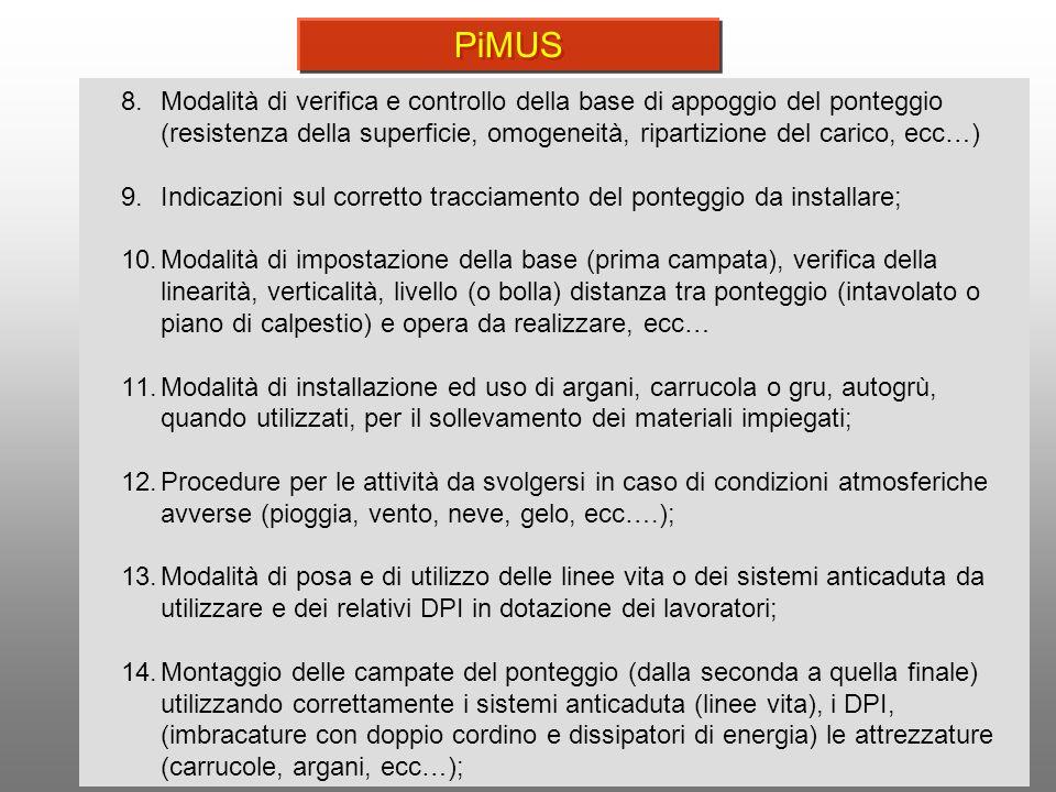 PiMUS Modalità di verifica e controllo della base di appoggio del ponteggio (resistenza della superficie, omogeneità, ripartizione del carico, ecc…)