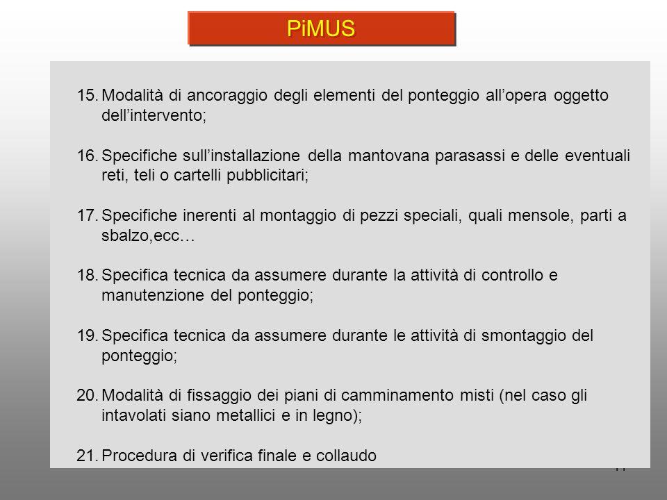 PiMUS Modalità di ancoraggio degli elementi del ponteggio all'opera oggetto dell'intervento;