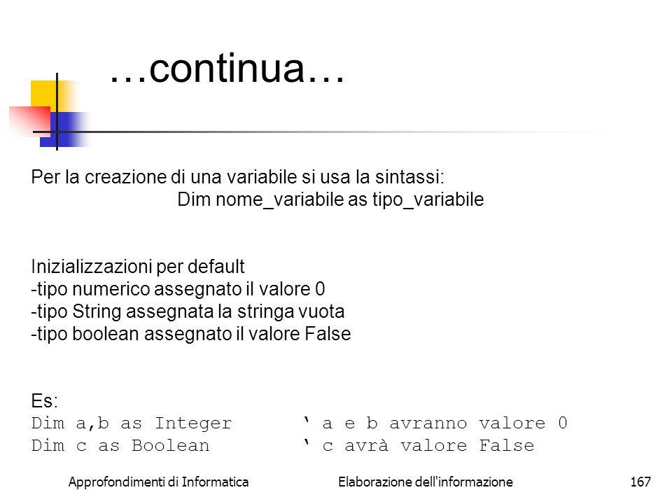 …continua… Per la creazione di una variabile si usa la sintassi: