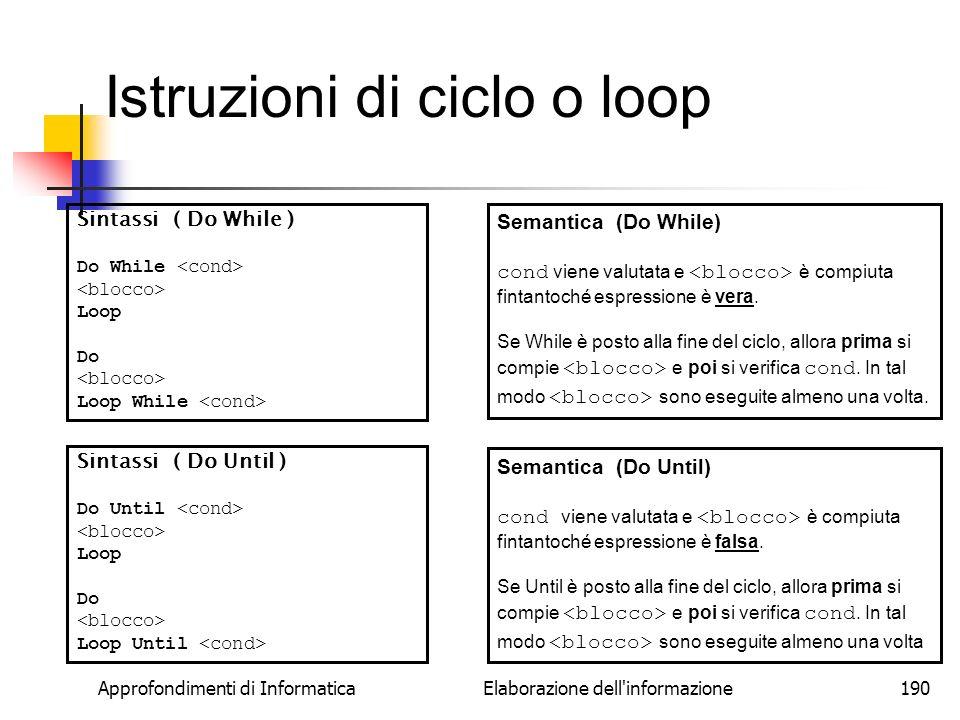 Istruzioni di ciclo o loop