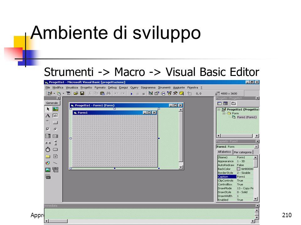 Ambiente di sviluppo Strumenti -> Macro -> Visual Basic Editor