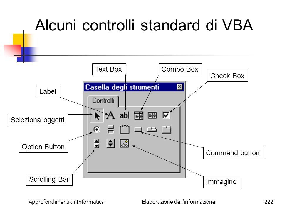 Alcuni controlli standard di VBA