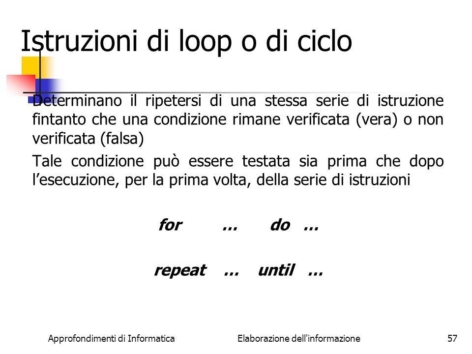 Istruzioni di loop o di ciclo