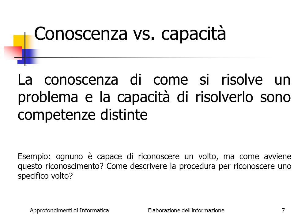Conoscenza vs. capacità