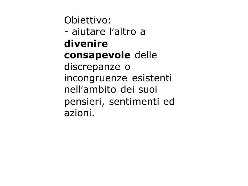 Obiettivo: - aiutare l'altro a divenire consapevole delle discrepanze o incongruenze esistenti.