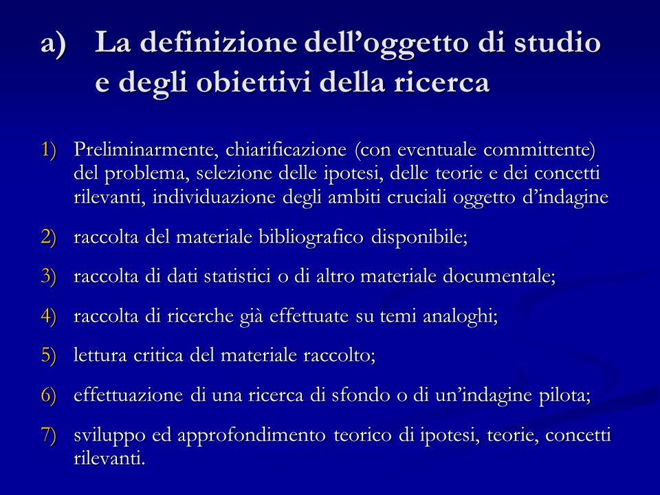 La definizione dell'oggetto di studio e degli obiettivi della ricerca