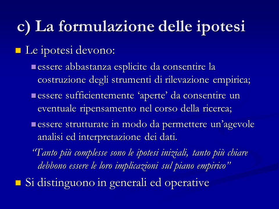 c) La formulazione delle ipotesi
