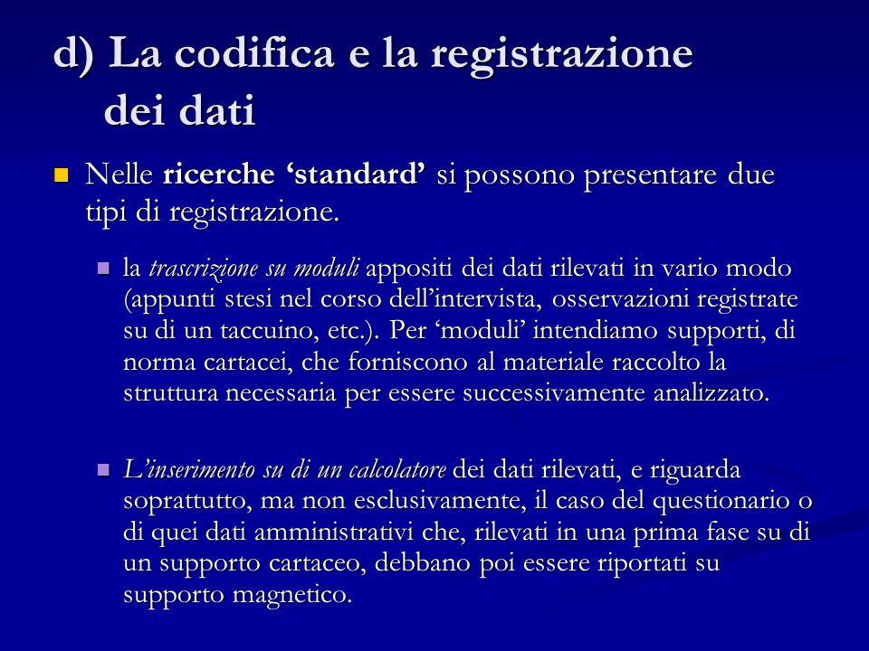 d) La codifica e la registrazione dei dati