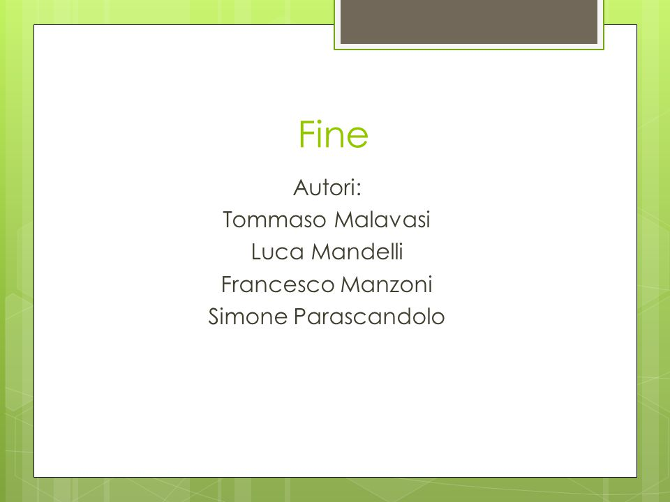 Fine Autori: Tommaso Malavasi Luca Mandelli Francesco Manzoni Simone Parascandolo