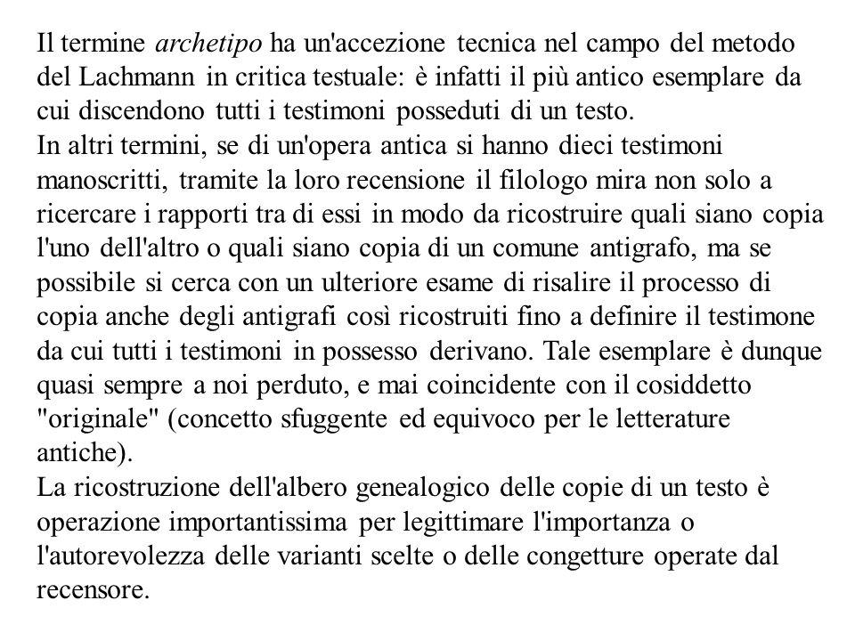 Il termine archetipo ha un accezione tecnica nel campo del metodo del Lachmann in critica testuale: è infatti il più antico esemplare da cui discendono tutti i testimoni posseduti di un testo.