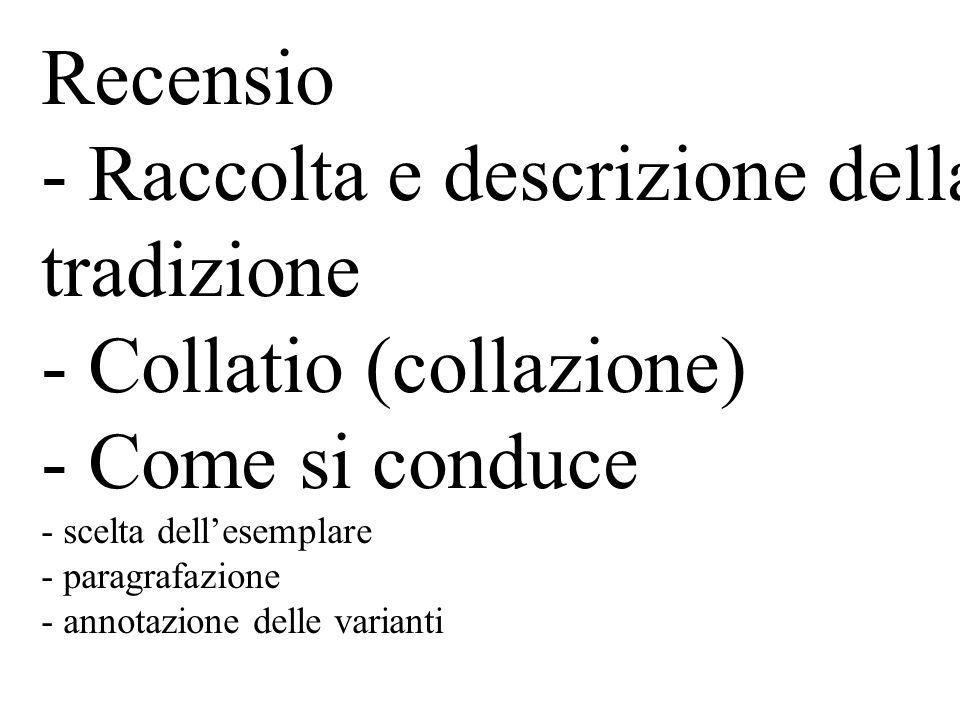 - Raccolta e descrizione della tradizione Collatio (collazione)