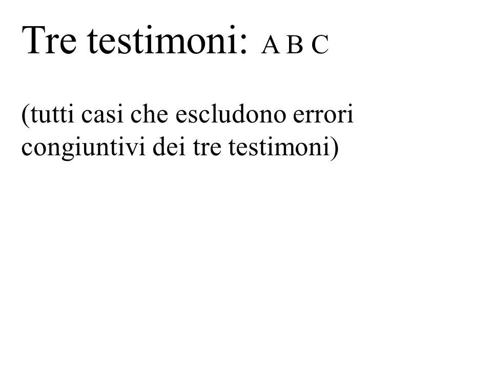 Tre testimoni: A B C (tutti casi che escludono errori congiuntivi dei tre testimoni)