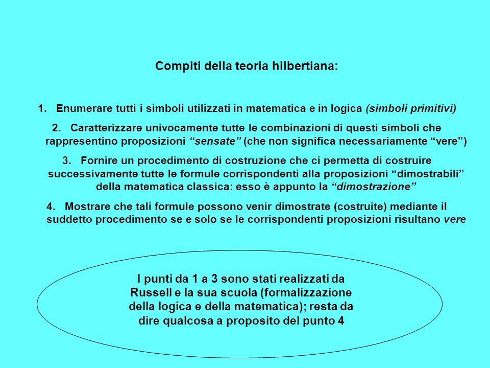 Compiti della teoria hilbertiana: