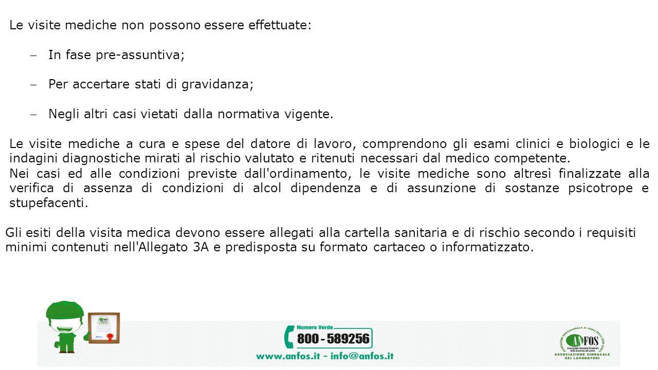 Le visite mediche non possono essere effettuate: