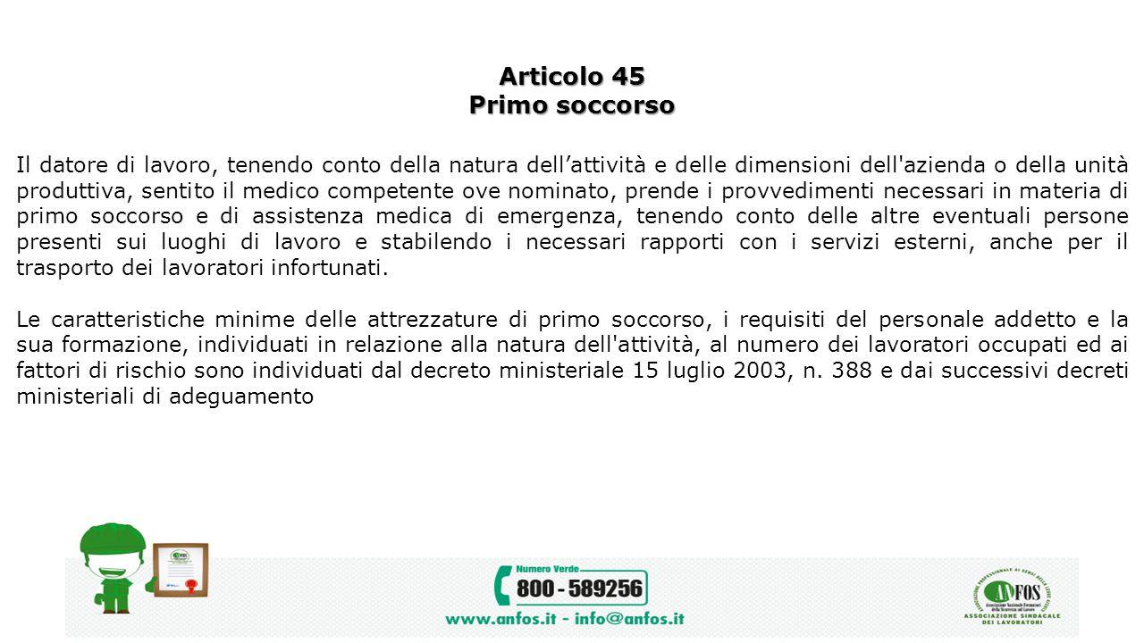 Articolo 45 Primo soccorso