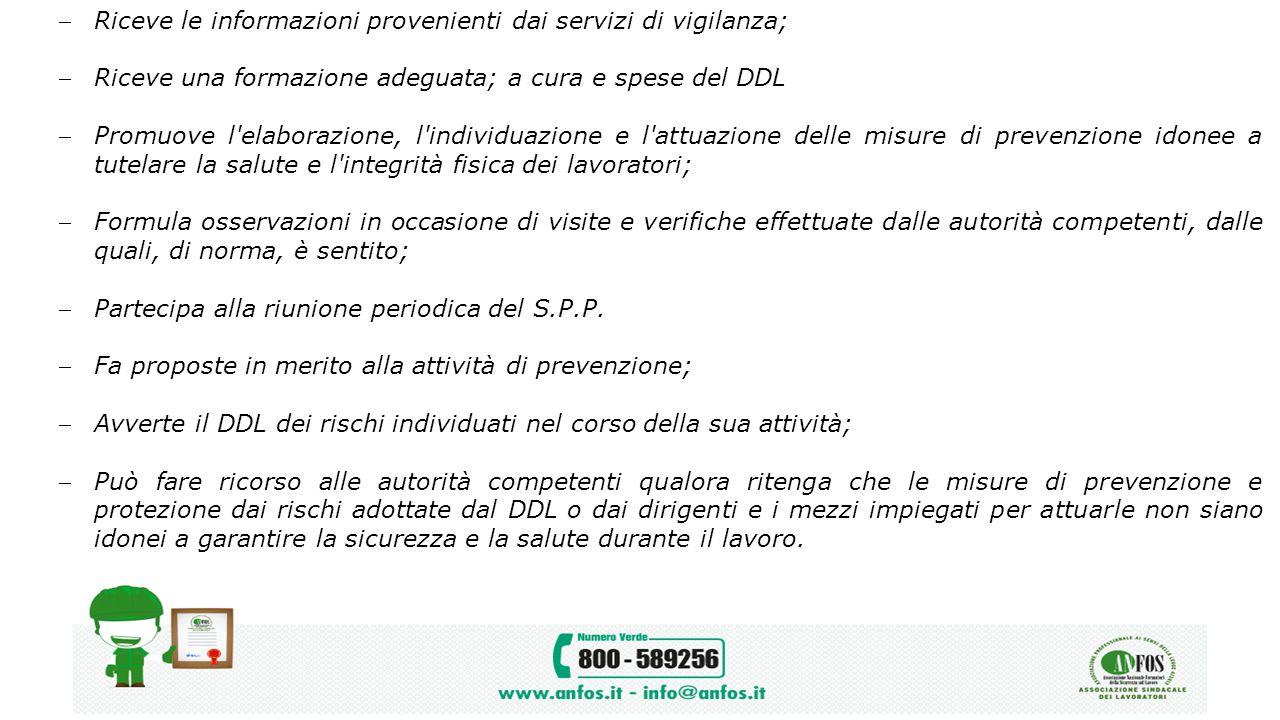 Riceve le informazioni provenienti dai servizi di vigilanza;