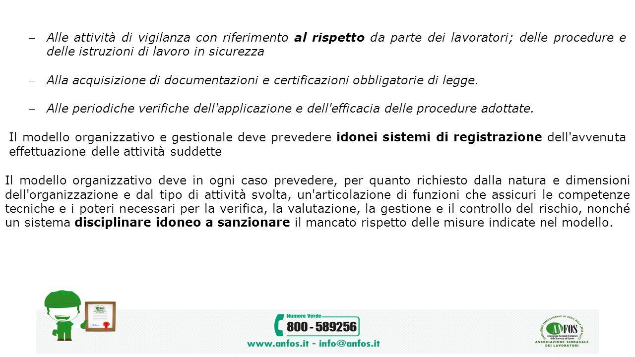 Alle attività di vigilanza con riferimento al rispetto da parte dei lavoratori; delle procedure e delle istruzioni di lavoro in sicurezza