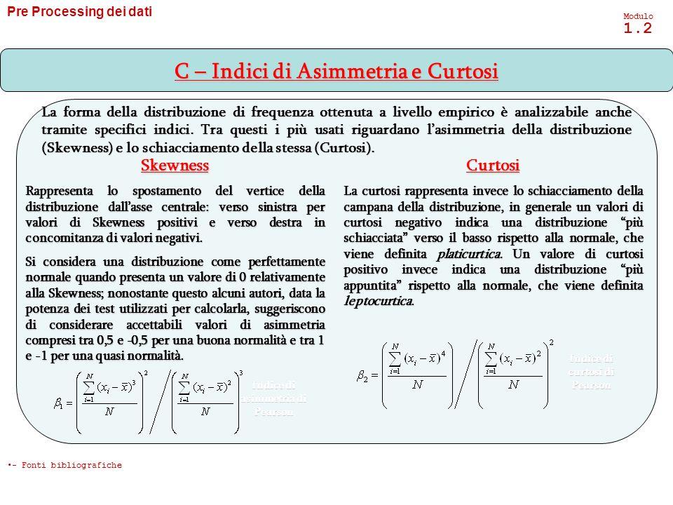 C – Indici di Asimmetria e Curtosi