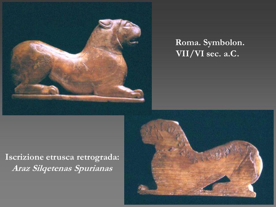 Iscrizione etrusca retrograda: Araz Silqetenas Spurianas