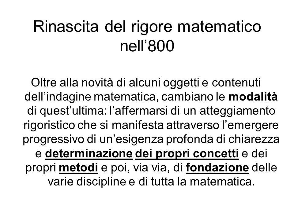 Rinascita del rigore matematico nell'800