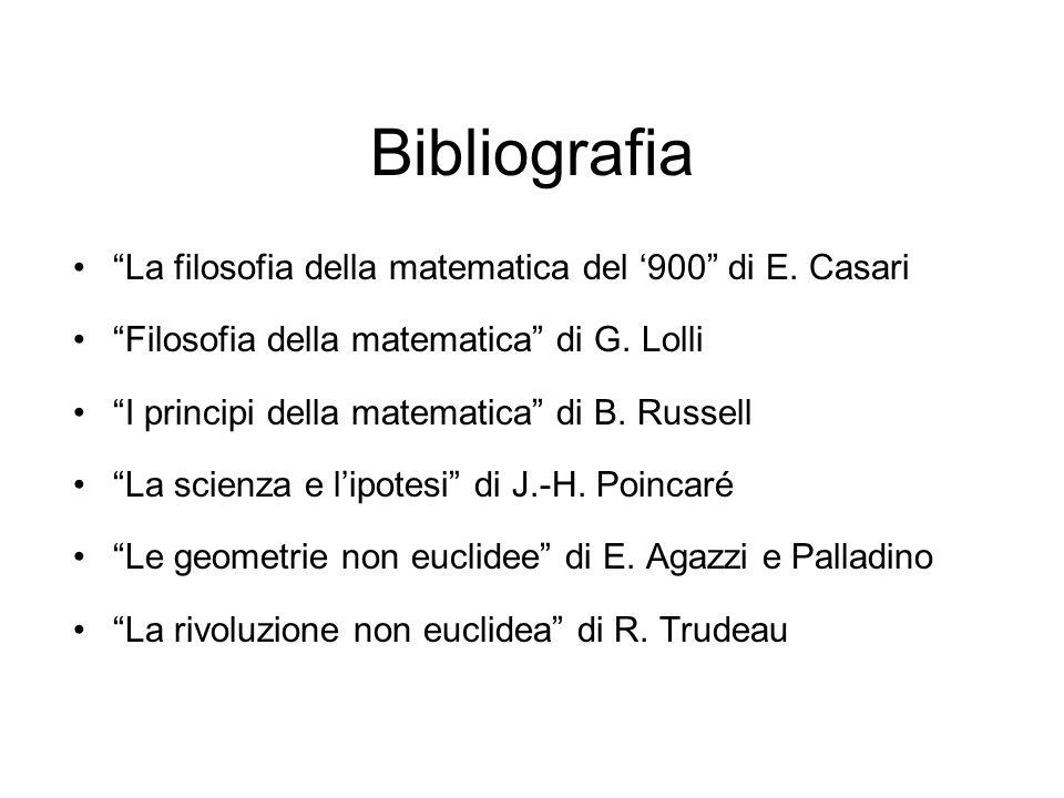 Bibliografia La filosofia della matematica del '900 di E. Casari