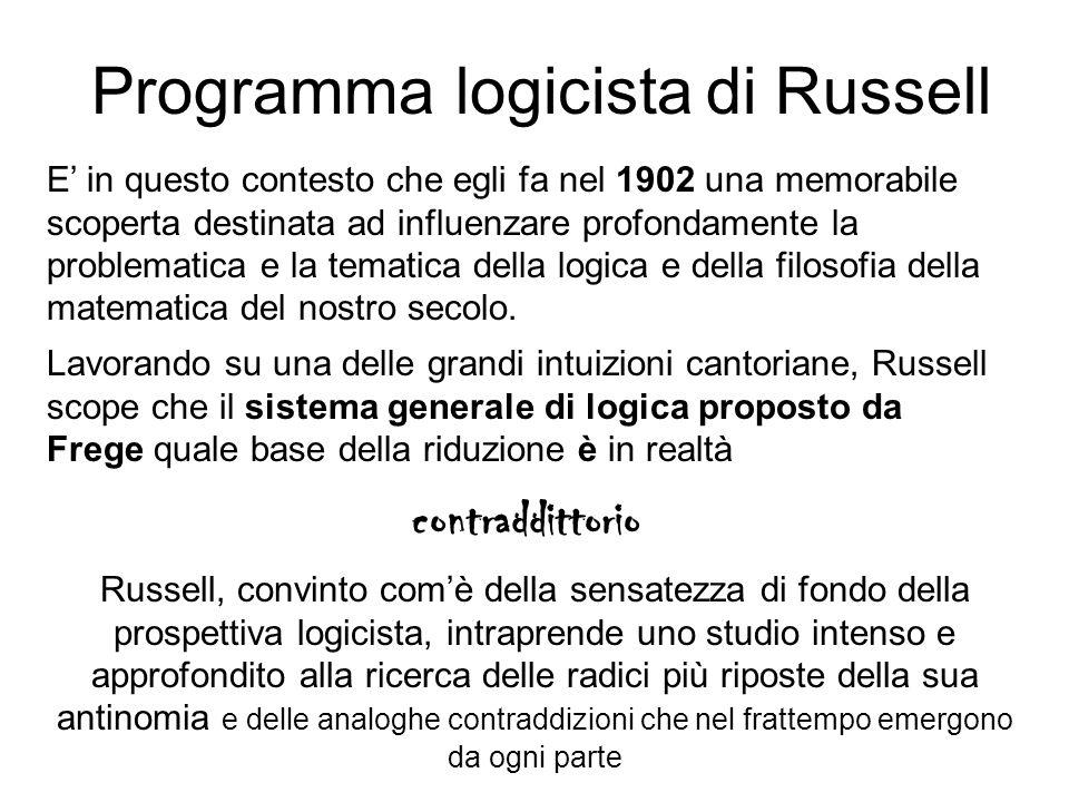 Programma logicista di Russell contraddittorio