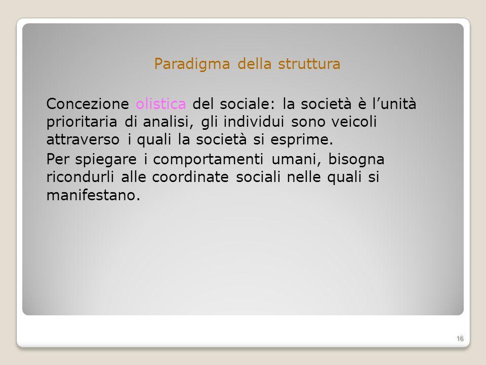 Paradigma della struttura Concezione olistica del sociale: la società è l'unità prioritaria di analisi, gli individui sono veicoli attraverso i quali la società si esprime.