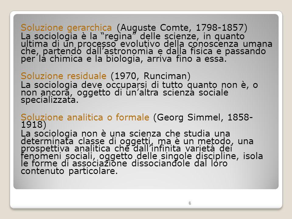 Soluzione gerarchica (Auguste Comte, 1798-1857)