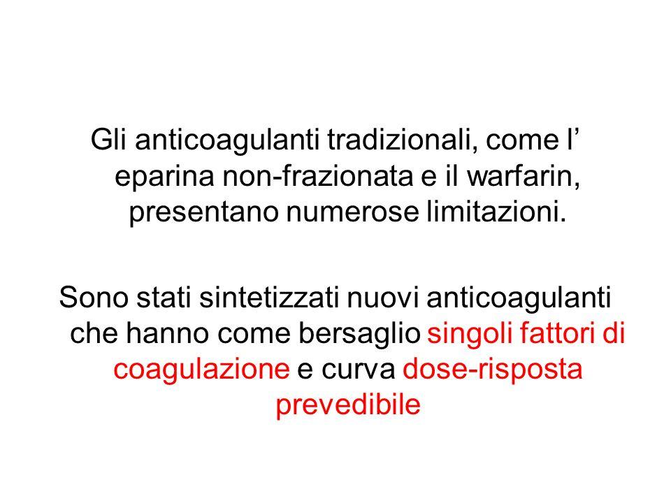 Gli anticoagulanti tradizionali, come l' eparina non-frazionata e il warfarin, presentano numerose limitazioni.