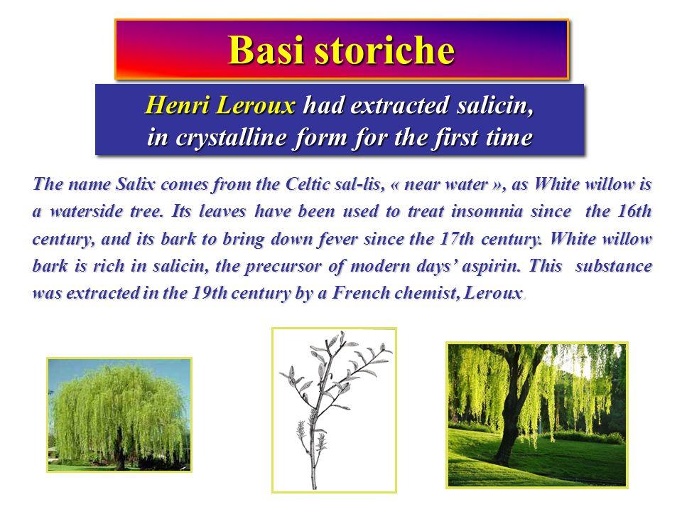 Basi storiche Henri Leroux had extracted salicin,
