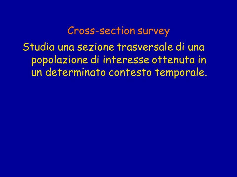 Cross-section survey Studia una sezione trasversale di una popolazione di interesse ottenuta in un determinato contesto temporale.