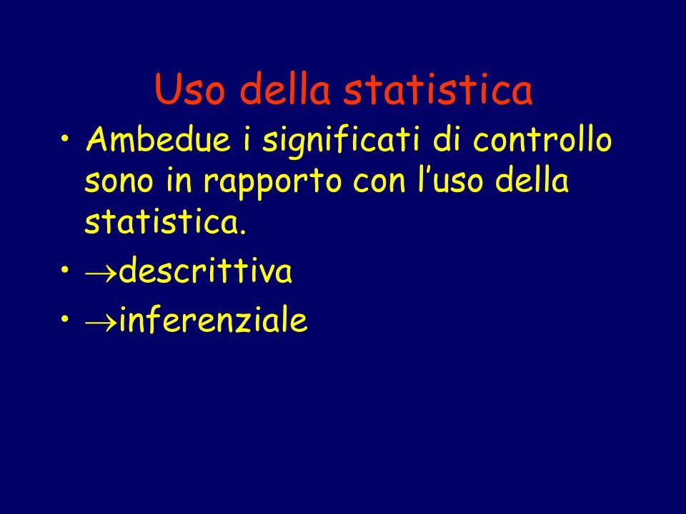 Uso della statistica Ambedue i significati di controllo sono in rapporto con l'uso della statistica.