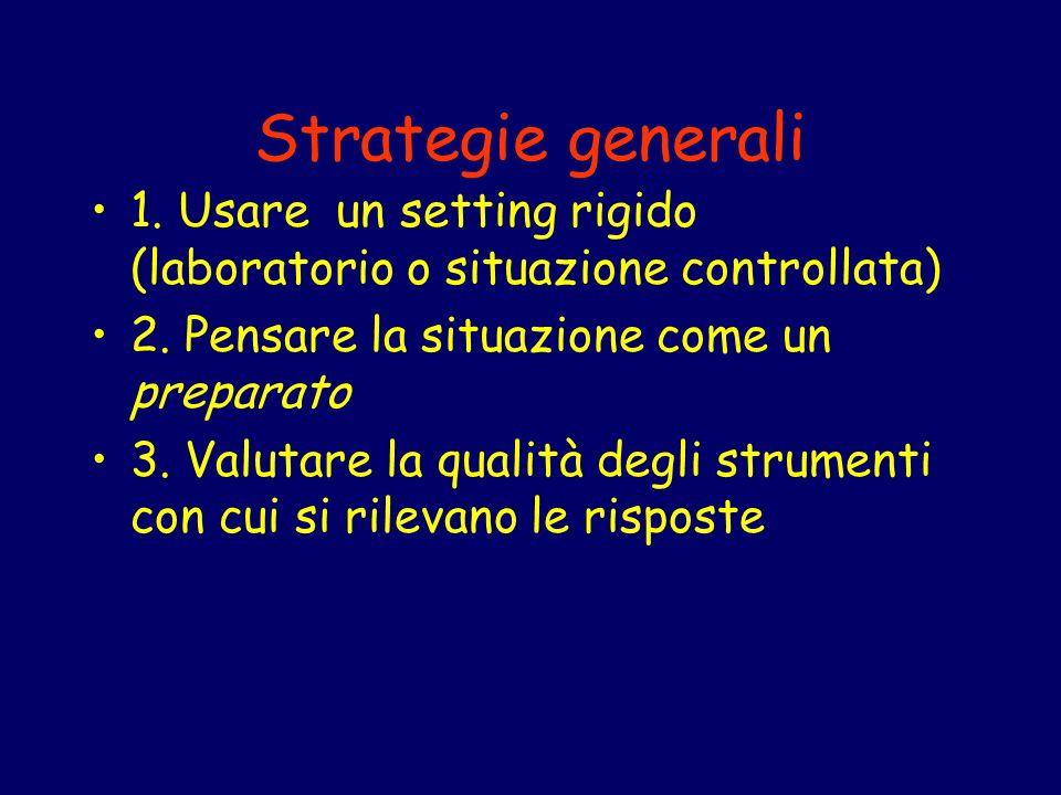 Strategie generali 1. Usare un setting rigido (laboratorio o situazione controllata) 2. Pensare la situazione come un preparato.