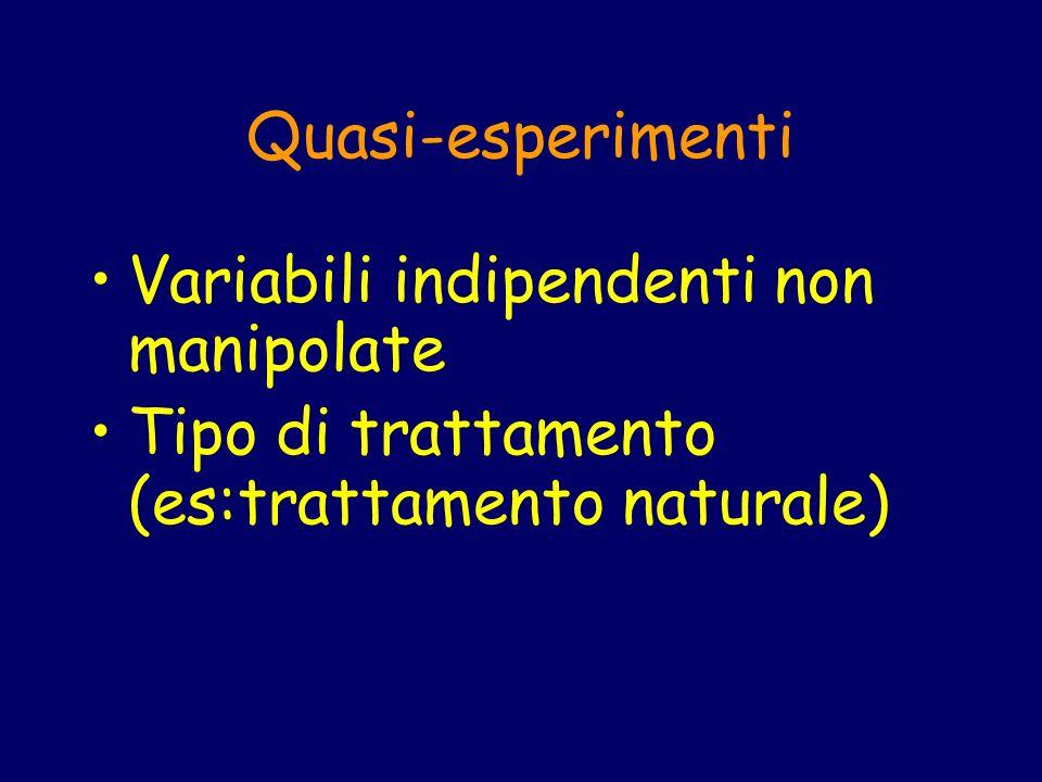 Quasi-esperimenti Variabili indipendenti non manipolate.