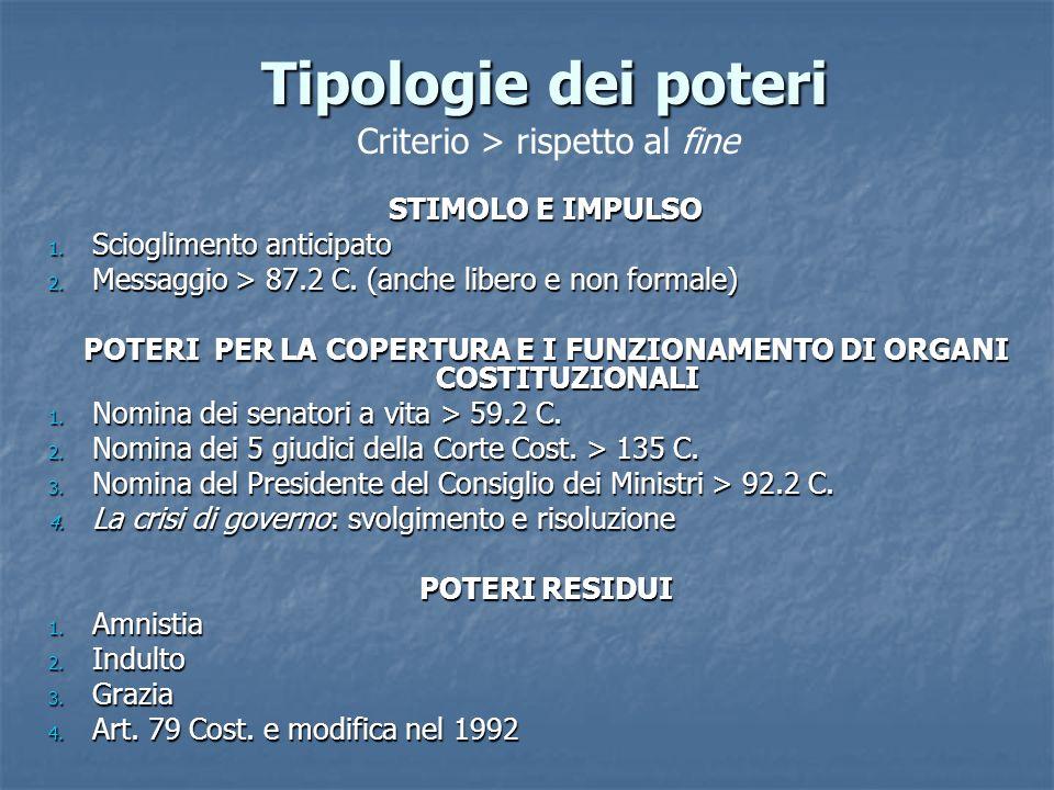POTERI PER LA COPERTURA E I FUNZIONAMENTO DI ORGANI COSTITUZIONALI