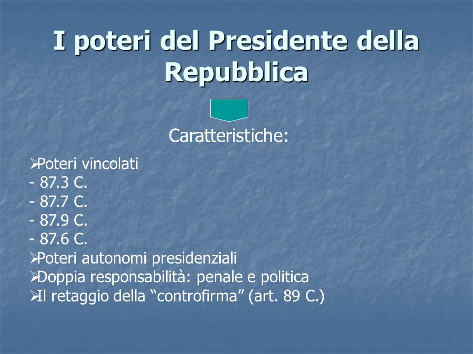 I poteri del Presidente della Repubblica