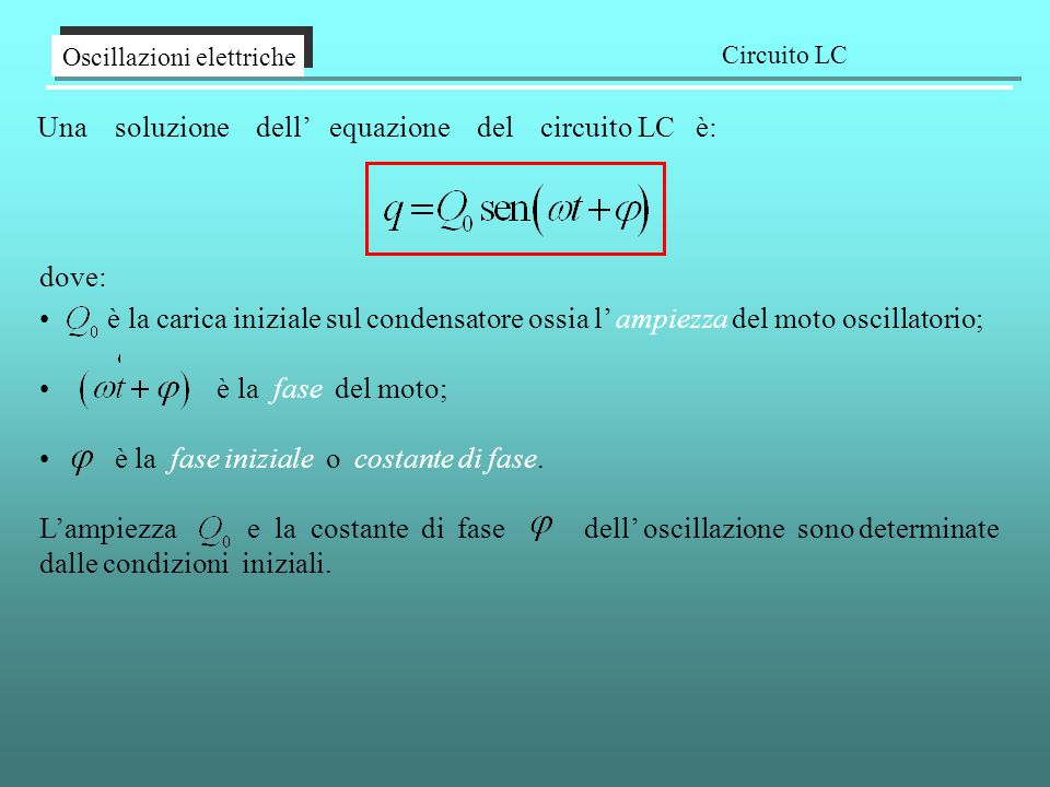 Una soluzione dell' equazione del circuito LC è:
