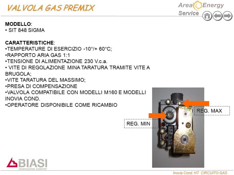 VALVOLA GAS PREMIX MODELLO: SIT 848 SIGMA CARATTERISTICHE: