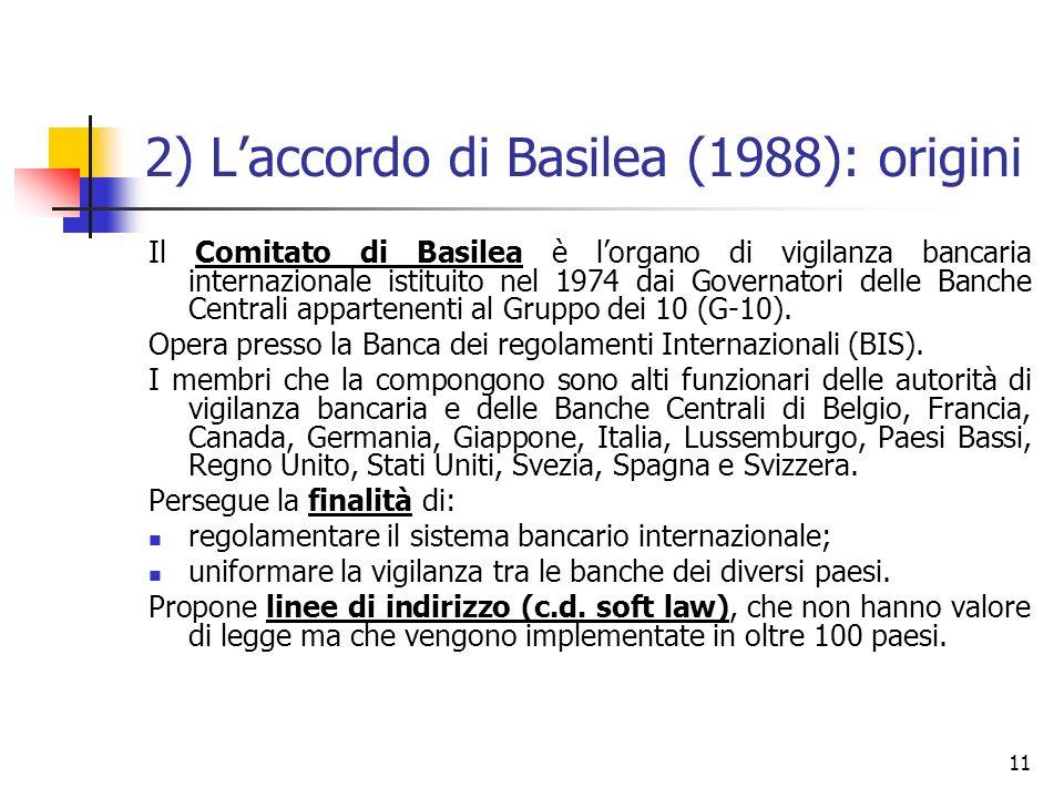 2) L'accordo di Basilea (1988): origini