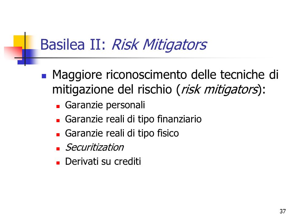 Basilea II: Risk Mitigators