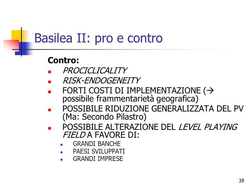 Basilea II: pro e contro