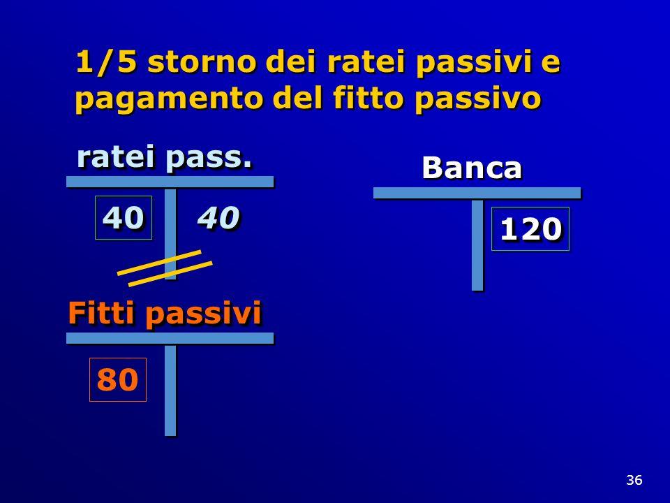 1/5 storno dei ratei passivi e pagamento del fitto passivo