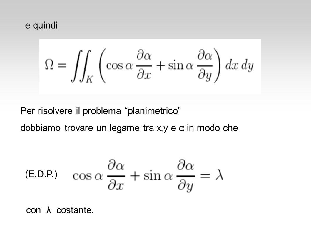 e quindi Per risolvere il problema planimetrico dobbiamo trovare un legame tra x,y e α in modo che.